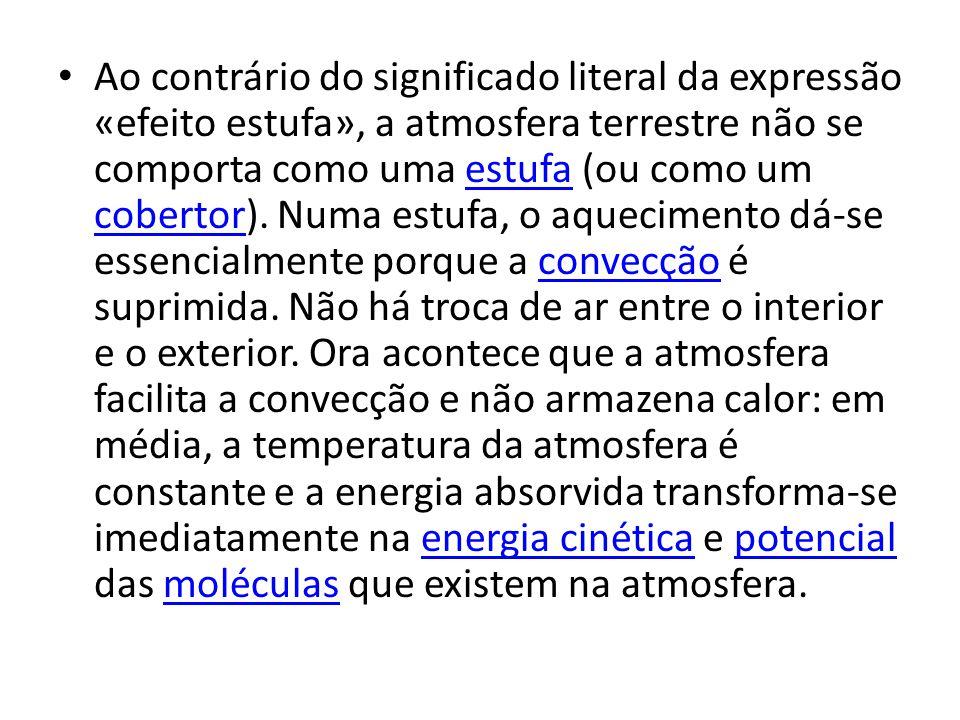 Ao contrário do significado literal da expressão «efeito estufa», a atmosfera terrestre não se comporta como uma estufa (ou como um cobertor).
