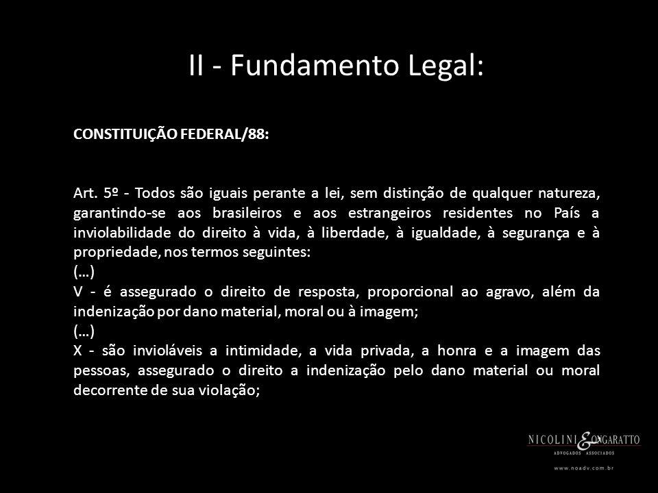 II - Fundamento Legal: CÓDIGO CIVIL: Art.927. Aquele que, por ato ilícito (arts.