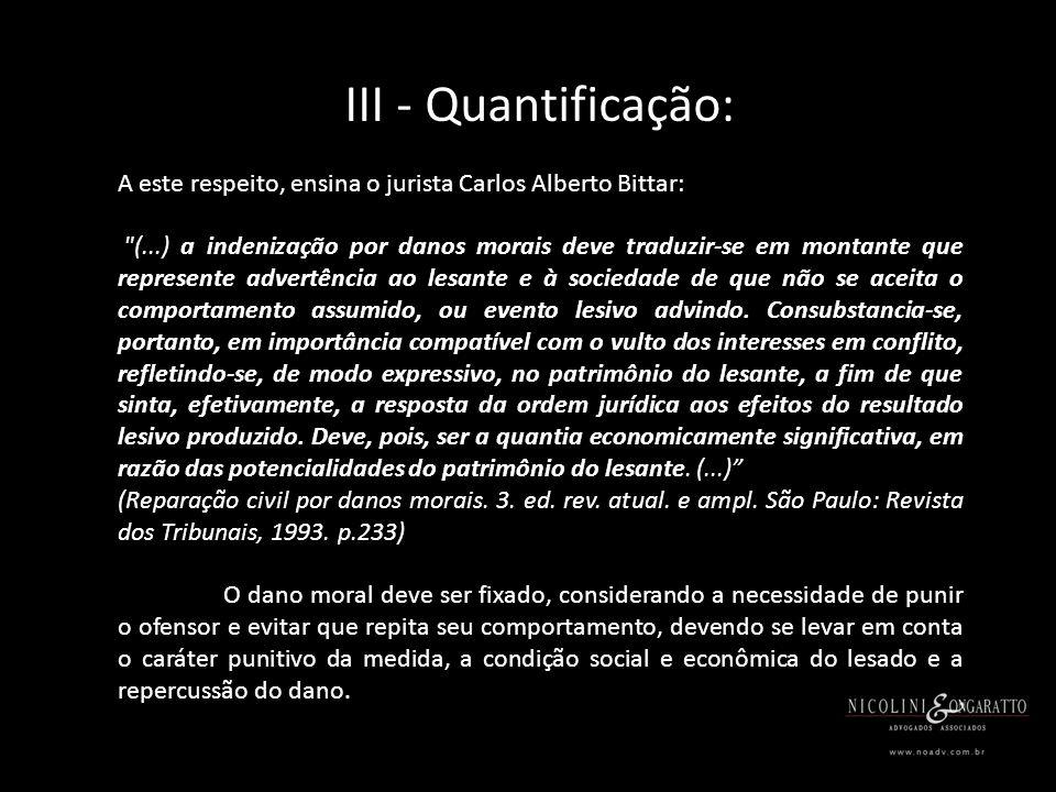 III - Quantificação: A este respeito, ensina o jurista Carlos Alberto Bittar: