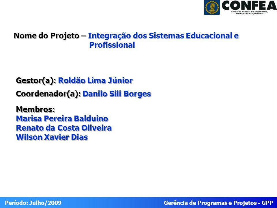 Gerência de Programas e Projetos - GPP Período: Julho/2009 Portfólio 2009 Integração