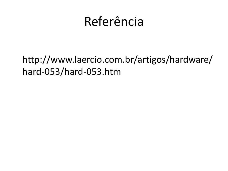 Referência http://www.laercio.com.br/artigos/hardware/ hard-053/hard-053.htm