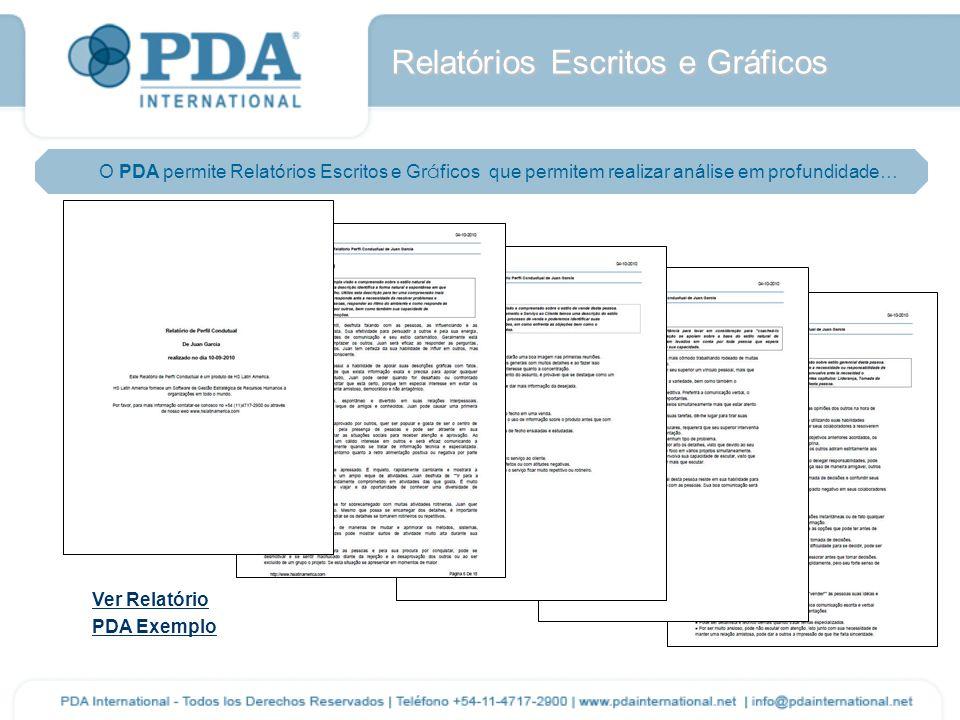 Relatórios Escritos e Gráficos O PDA permite Relatórios Escritos e Gr á ficos que permitem realizar análise em profundidade… Ver Relatório PDA Exemplo