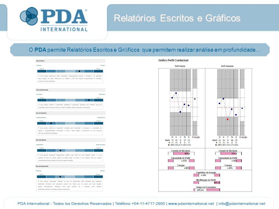 Relatórios Escritos e Gráficos O PDA permite Relatórios Escritos e Gr á ficos que permitem realizar análise em profundidade…
