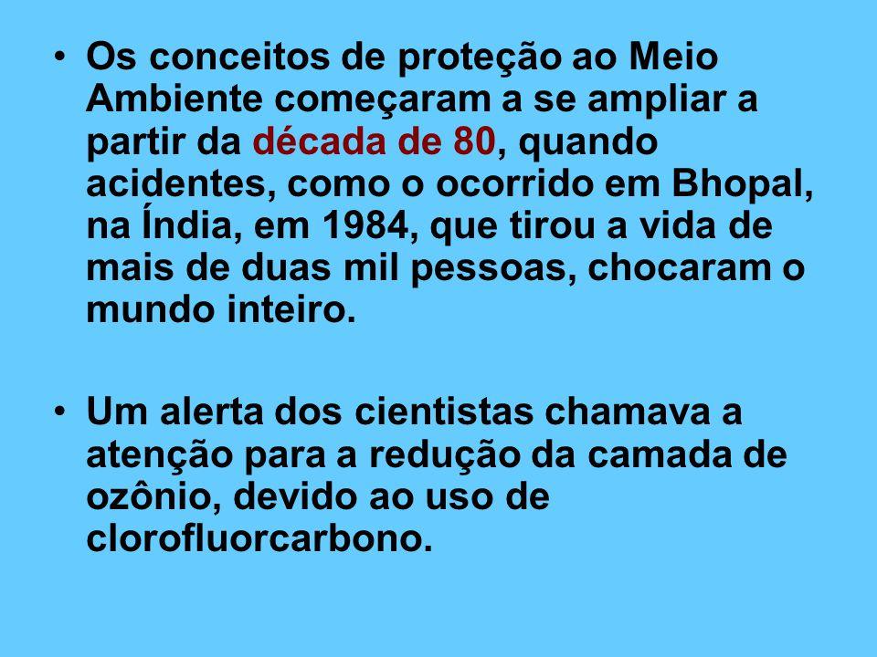 Os conceitos de proteção ao Meio Ambiente começaram a se ampliar a partir da década de 80, quando acidentes, como o ocorrido em Bhopal, na Índia, em 1984, que tirou a vida de mais de duas mil pessoas, chocaram o mundo inteiro.