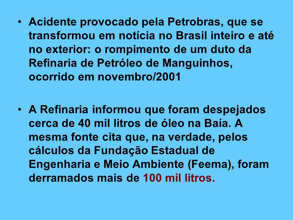 Acidente provocado pela Petrobras, que se transformou em notícia no Brasil inteiro e até no exterior: o rompimento de um duto da Refinaria de Petróleo de Manguinhos, ocorrido em novembro/2001 A Refinaria informou que foram despejados cerca de 40 mil litros de óleo na Baía.