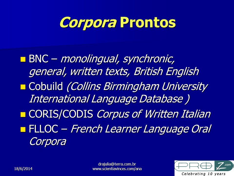 18/6/2014 drajulia@terra.com.br www.scientiavinces.com/ana15 Corpora Prontos BNC – monolingual, synchronic, general, written texts, British English BN