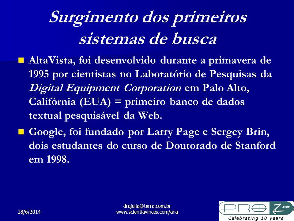 18/6/2014 drajulia@terra.com.br www.scientiavinces.com/ana2 Surgimento dos primeiros sistemas de busca AltaVista, foi desenvolvido durante a primavera de 1995 por cientistas no Laboratório de Pesquisas da Digital Equipment Corporation em Palo Alto, Califórnia (EUA) = primeiro banco de dados textual pesquisável da Web.