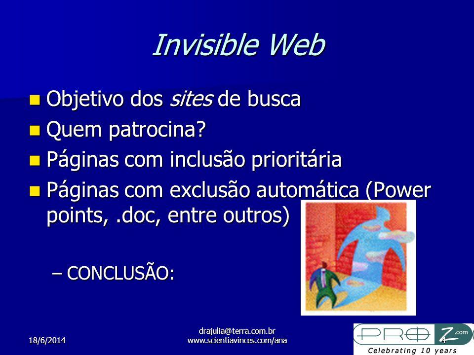 18/6/2014 drajulia@terra.com.br www.scientiavinces.com/ana4 Invisible Web Objetivo dos sites de busca Objetivo dos sites de busca Quem patrocina? Quem