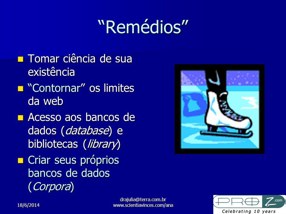 18/6/2014 drajulia@terra.com.br www.scientiavinces.com/ana5 Remédios Tomar ciência de sua existência Tomar ciência de sua existência Contornar os limi