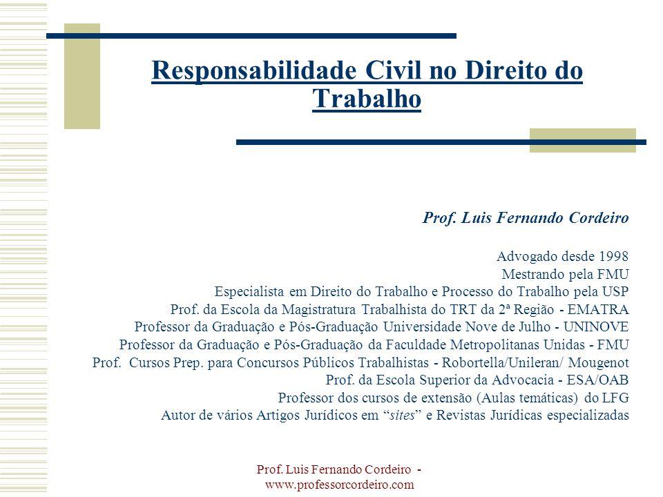 Prof. Luis Fernando Cordeiro - www.professorcordeiro.com Responsabilidade Civil no Direito do Trabalho Prof. Luis Fernando Cordeiro Advogado desde 199