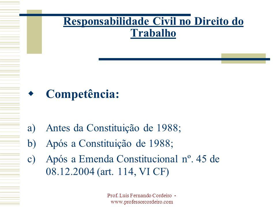 Prof. Luis Fernando Cordeiro - www.professorcordeiro.com Responsabilidade Civil no Direito do Trabalho Competência: a)Antes da Constituição de 1988; b