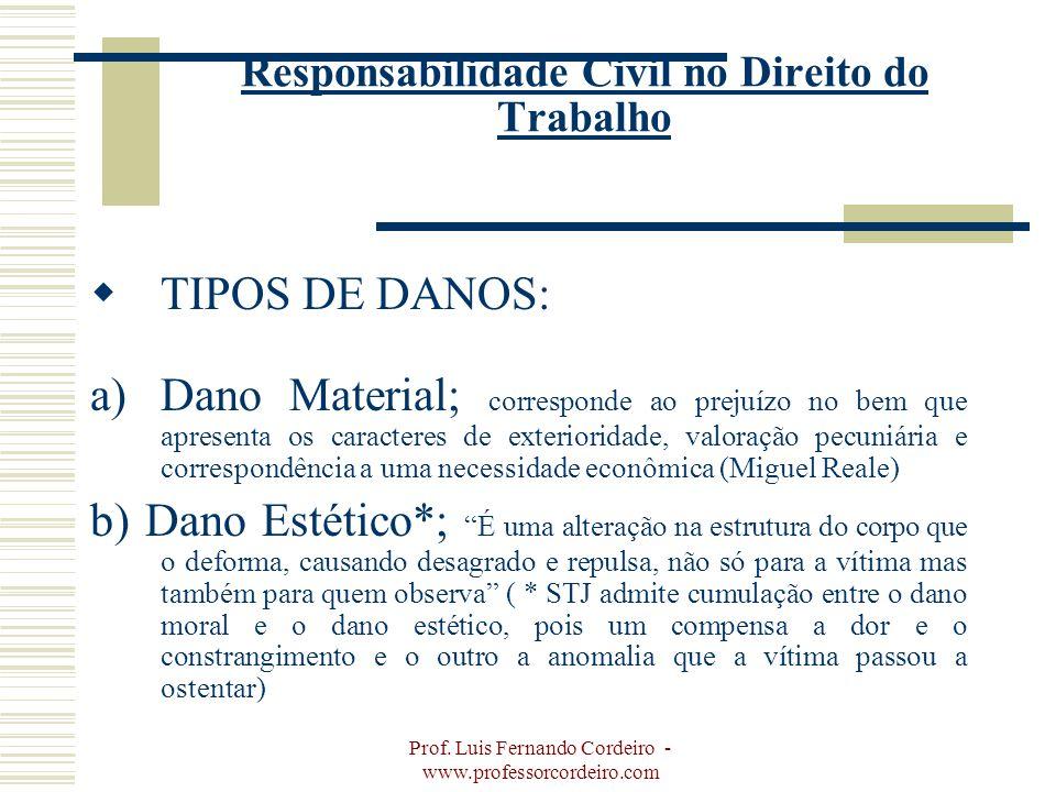 Prof. Luis Fernando Cordeiro - www.professorcordeiro.com Responsabilidade Civil no Direito do Trabalho TIPOS DE DANOS: a)Dano Material; corresponde ao