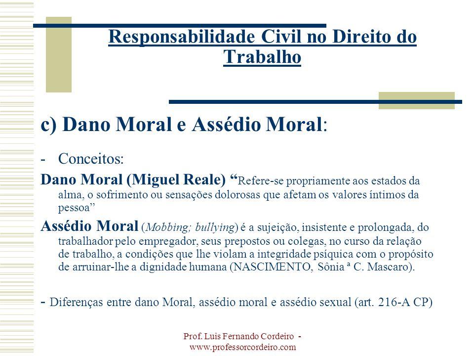 Prof. Luis Fernando Cordeiro - www.professorcordeiro.com Responsabilidade Civil no Direito do Trabalho c) Dano Moral e Assédio Moral: -Conceitos: Dano