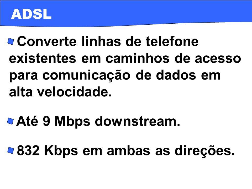 · Converte linhas de telefone existentes em caminhos de acesso para comunicação de dados em alta velocidade. · Até 9 Mbps downstream. · 832 Kbps em am
