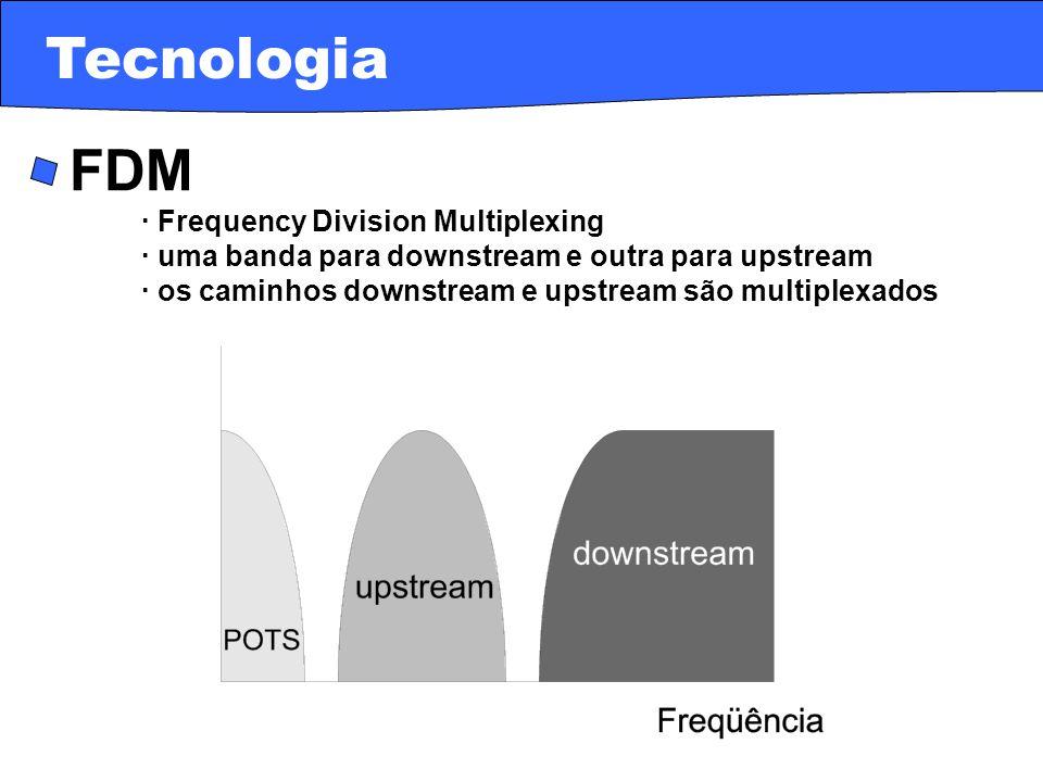 · FDM · Frequency Division Multiplexing · uma banda para downstream e outra para upstream · os caminhos downstream e upstream são multiplexados Tecnol