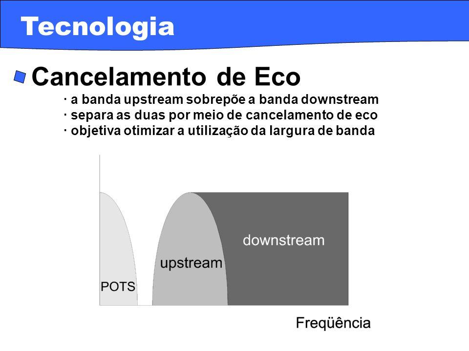 · Cancelamento de Eco · a banda upstream sobrepõe a banda downstream · separa as duas por meio de cancelamento de eco · objetiva otimizar a utilização