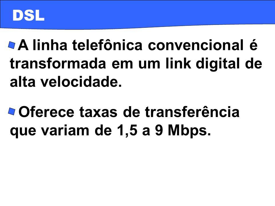 · A linha telefônica convencional é transformada em um link digital de alta velocidade. · Oferece taxas de transferência que variam de 1,5 a 9 Mbps. D