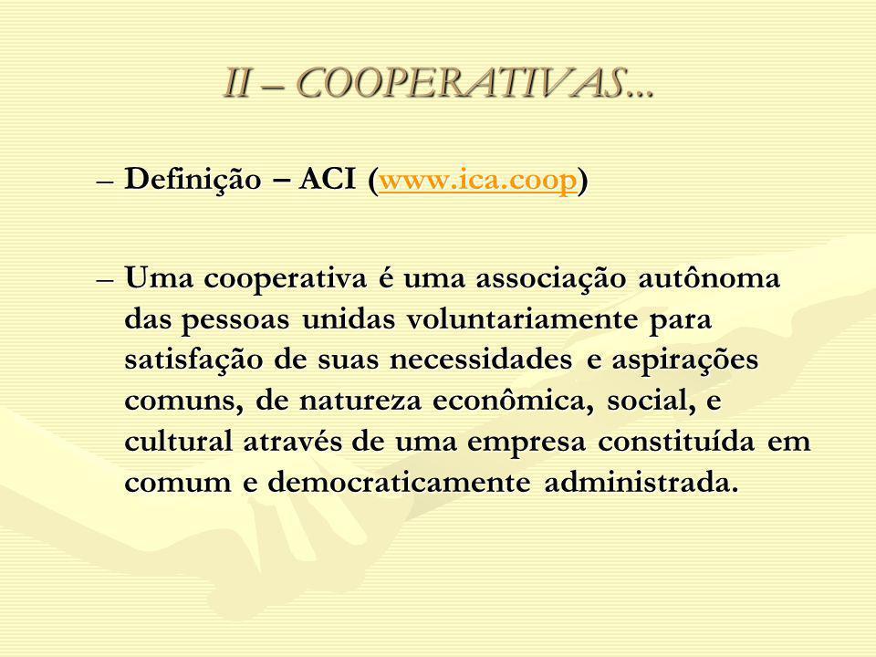 II – COOPERATIVAS... –Definição – ACI (www.ica.coop) www.ica.coop –Uma cooperativa é uma associação autônoma das pessoas unidas voluntariamente para s