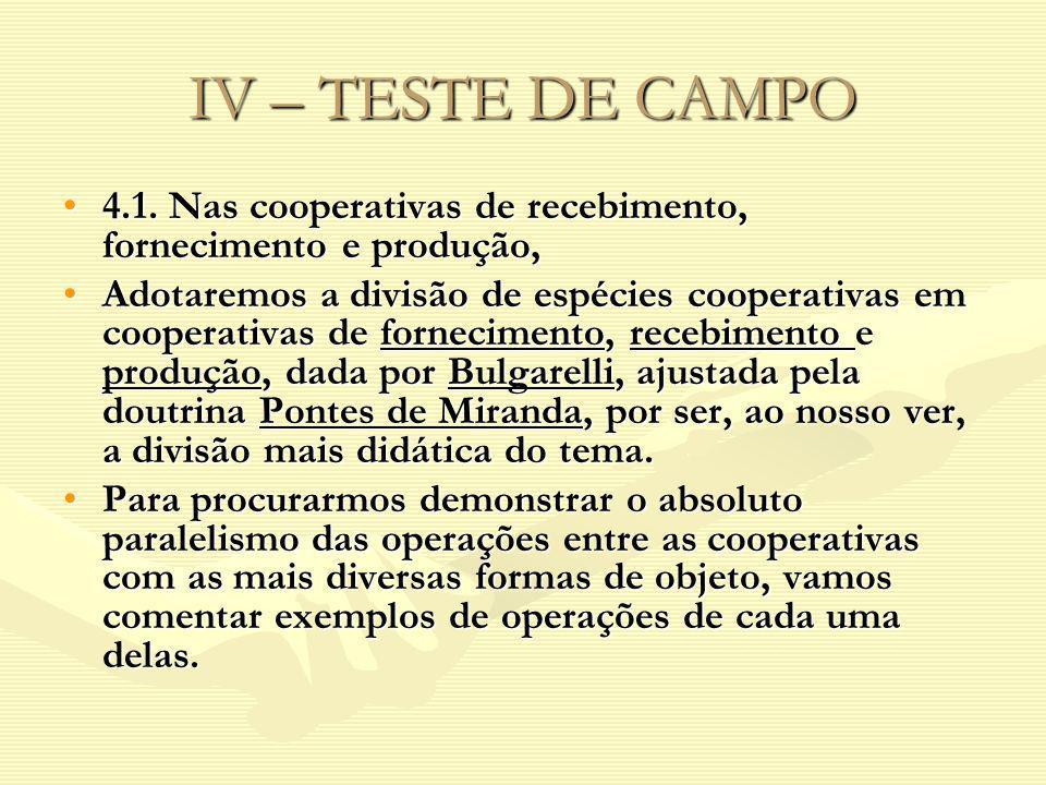 IV – TESTE DE CAMPO 4.1. Nas cooperativas de recebimento, fornecimento e produção,4.1. Nas cooperativas de recebimento, fornecimento e produção, Adota
