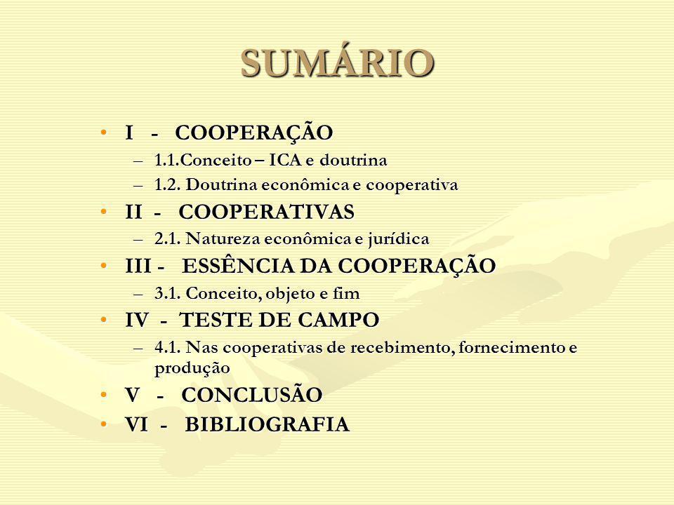 SUMÁRIO I - COOPERAÇÃOI - COOPERAÇÃO –1.1.Conceito – ICA e doutrina –1.2. Doutrina econômica e cooperativa II - COOPERATIVASII - COOPERATIVAS –2.1. Na