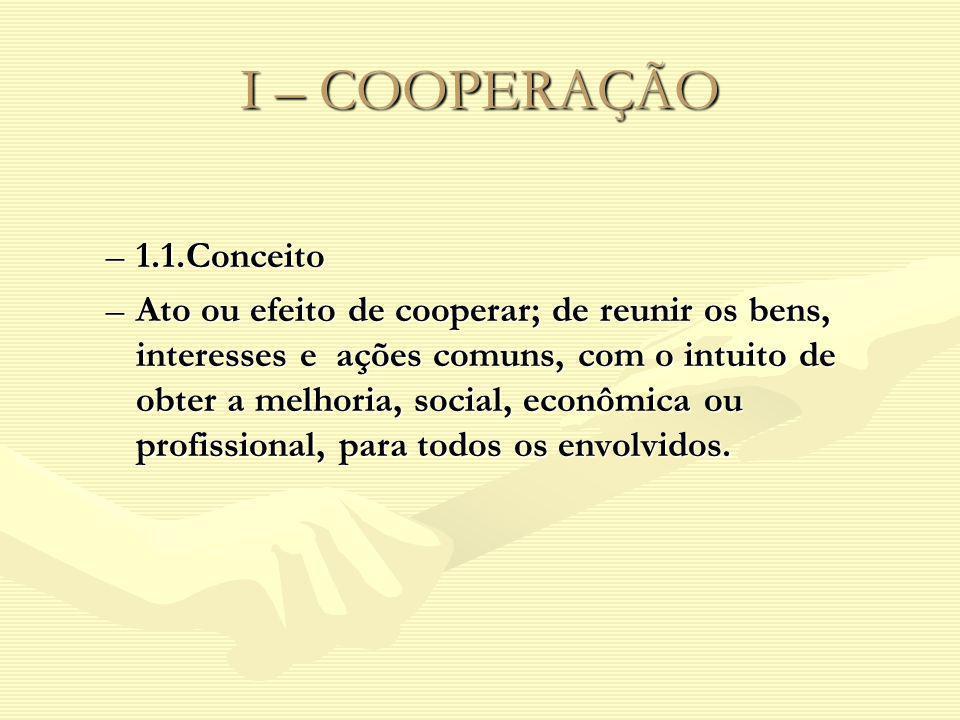 I – COOPERAÇÃO –1.1.Conceito –Ato ou efeito de cooperar; de reunir os bens, interesses e ações comuns, com o intuito de obter a melhoria, social, econ