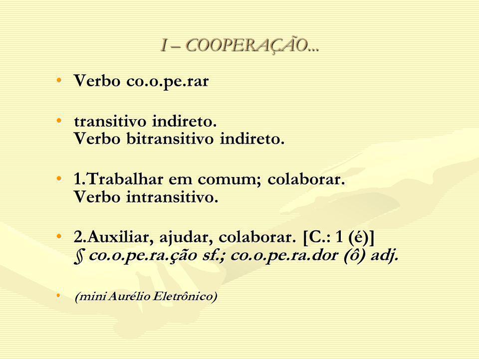 I – COOPERAÇÃO... Verbo co.o.pe.rarVerbo co.o.pe.rar transitivo indireto. Verbo bitransitivo indireto.transitivo indireto. Verbo bitransitivo indireto
