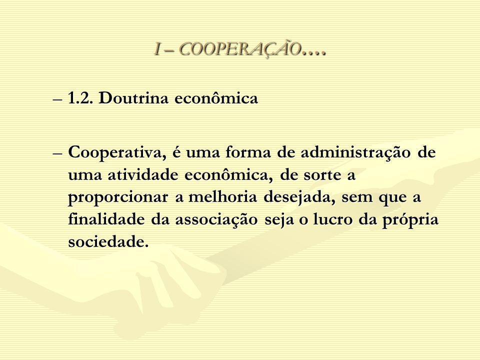 I – COOPERAÇÃO.... –1.2. Doutrina econômica –Cooperativa, é uma forma de administração de uma atividade econômica, de sorte a proporcionar a melhoria