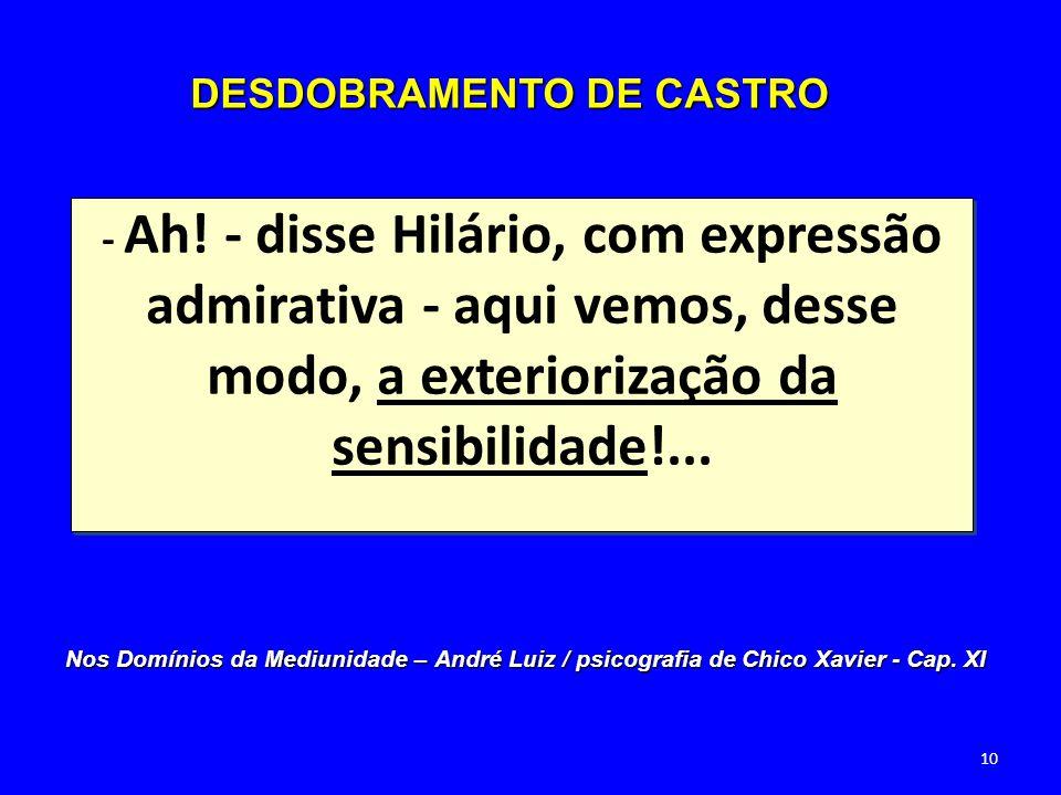 - Ah! - disse Hilário, com expressão admirativa - aqui vemos, desse modo, a exteriorização da sensibilidade!... DESDOBRAMENTO DE CASTRO Nos Domínios d
