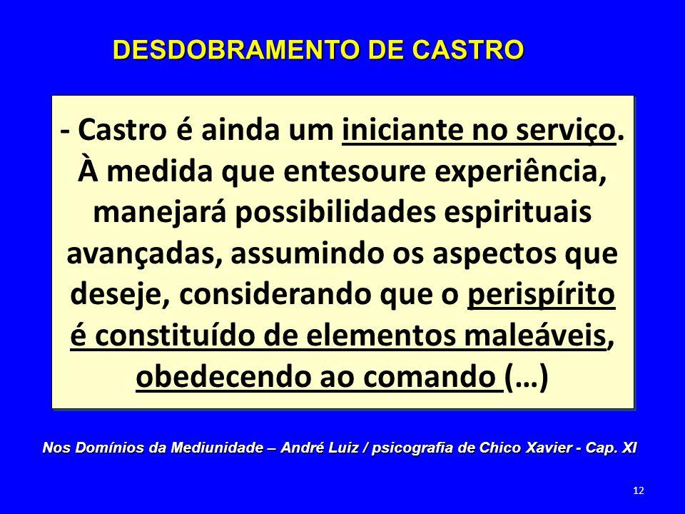 - Castro é ainda um iniciante no serviço. À medida que entesoure experiência, manejará possibilidades espirituais avançadas, assumindo os aspectos que