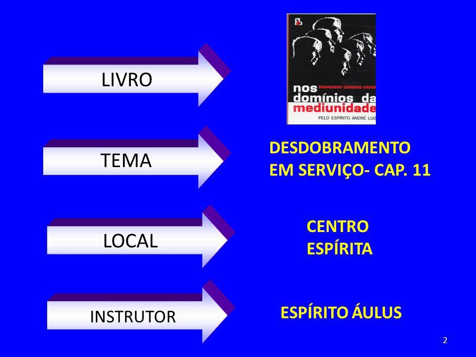 LIVRO LOCAL INSTRUTOR CENTRO ESPÍRITA ESPÍRITO ÁULUS TEMA DESDOBRAMENTO EM SERVIÇO- CAP. 11 2
