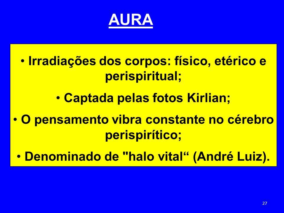 AURA Irradiações dos corpos: físico, etérico e perispiritual; Captada pelas fotos Kirlian; O pensamento vibra constante no cérebro perispirítico; Deno