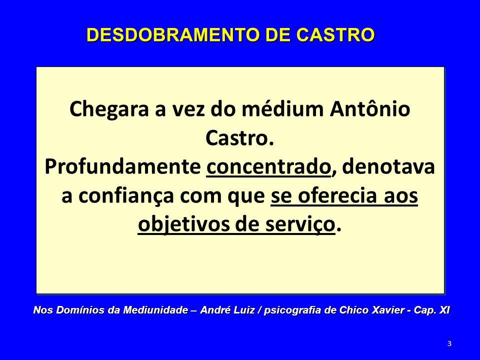 Chegara a vez do médium Antônio Castro. Profundamente concentrado, denotava a confiança com que se oferecia aos objetivos de serviço. DESDOBRAMENTO DE