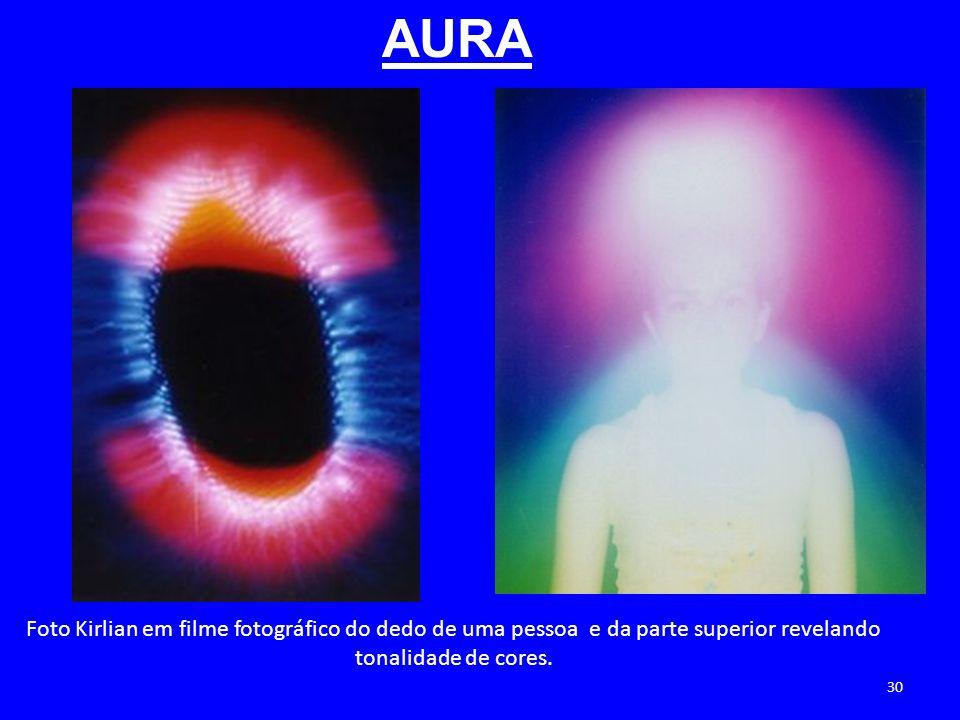 Foto Kirlian em filme fotográfico do dedo de uma pessoa e da parte superior revelando tonalidade de cores. AURA 30