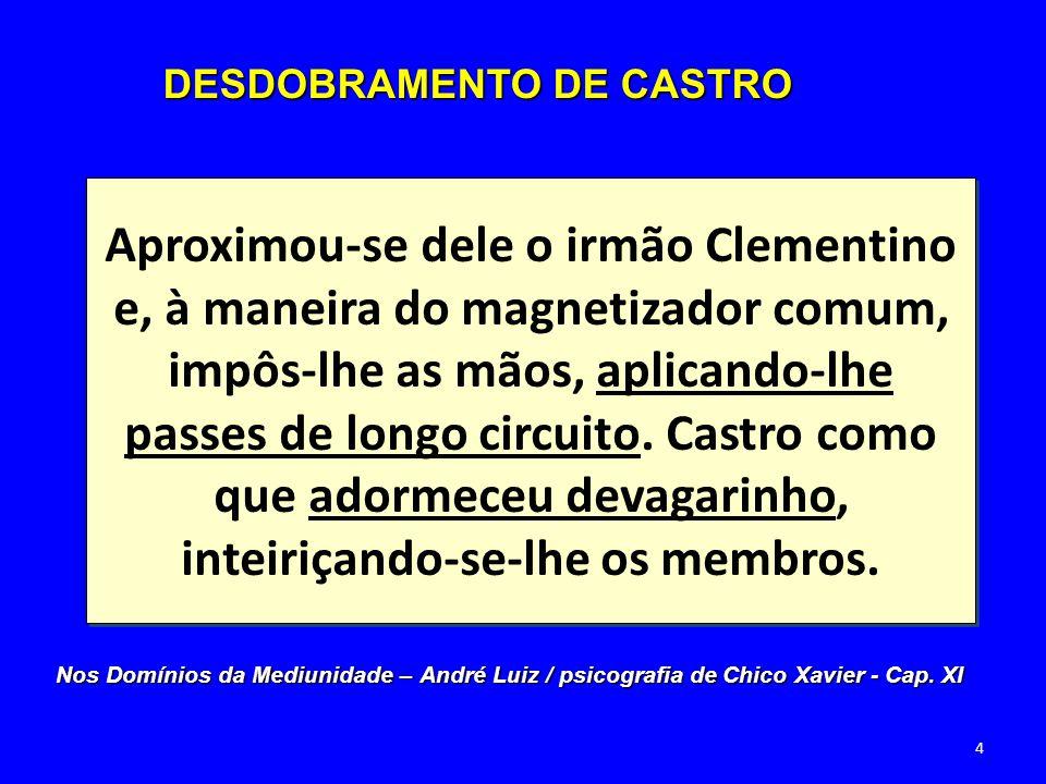 Aproximou-se dele o irmão Clementino e, à maneira do magnetizador comum, impôs-lhe as mãos, aplicando-lhe passes de longo circuito. Castro como que ad