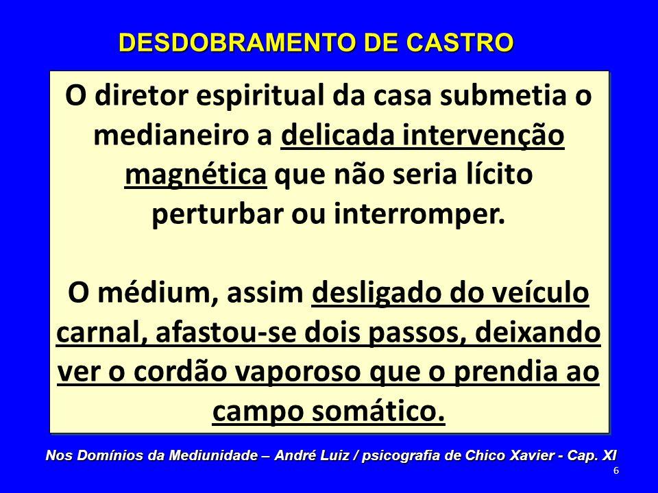 Enquanto Clementino o encorajava com palavras amigas, o nosso orientador, certamente assinalando-nos a curiosidade, deu- se pressa em esclarecer: DESDOBRAMENTO DE CASTRO Nos Domínios da Mediunidade – André Luiz / psicografia de Chico Xavier - Cap.