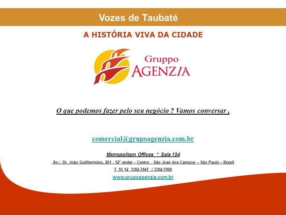 As imagens contidas nesta apresentação foram pesquisadas na internet, e são usadas apenas como ilustração. Vozes de Taubaté A HISTÓRIA VIVA DA CIDADE