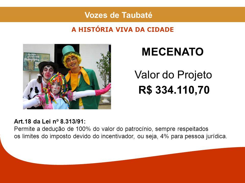 RECIBO DE MECENATO O Ministério da Cultura abrirá uma conta exclusiva, no Banco do Brasil, destinada ao depósito e movimentação dos recursos financeiros do projeto incentivado.