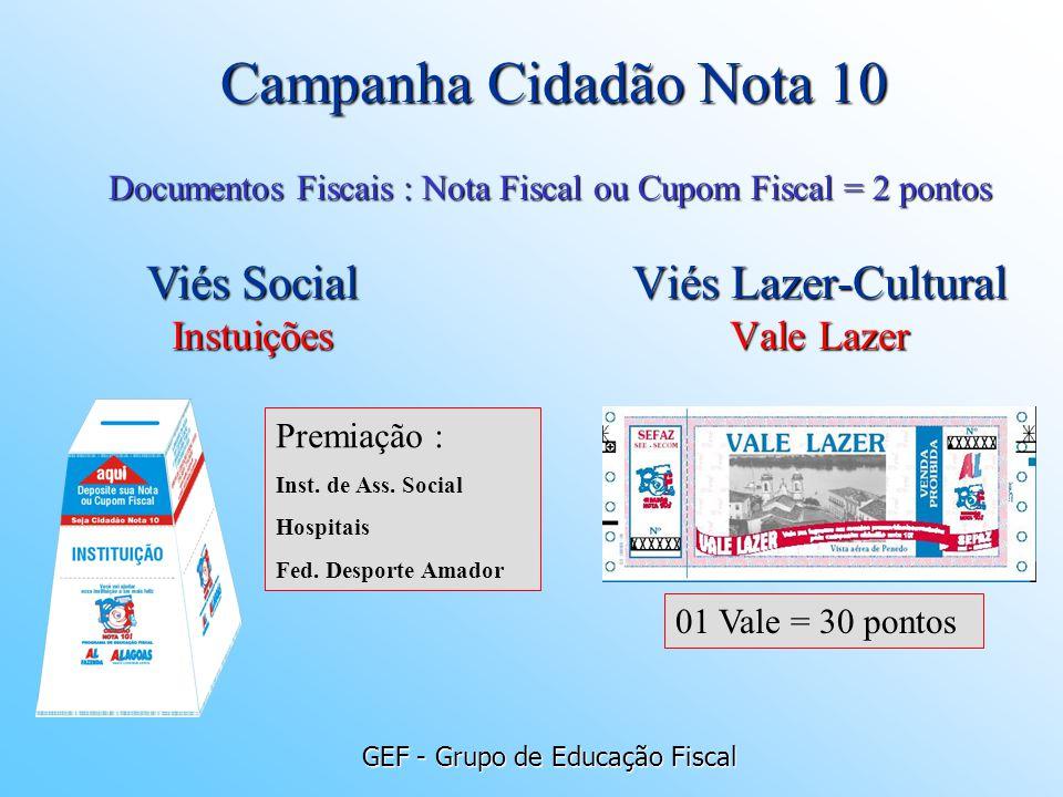 GEF - Grupo de Educação Fiscal Viés Lazer-Cultural Vale Lazer Documentos Fiscais : Nota Fiscal ou Cupom Fiscal = 2 pontos 01 Vale = 30 pontos Viés Soc