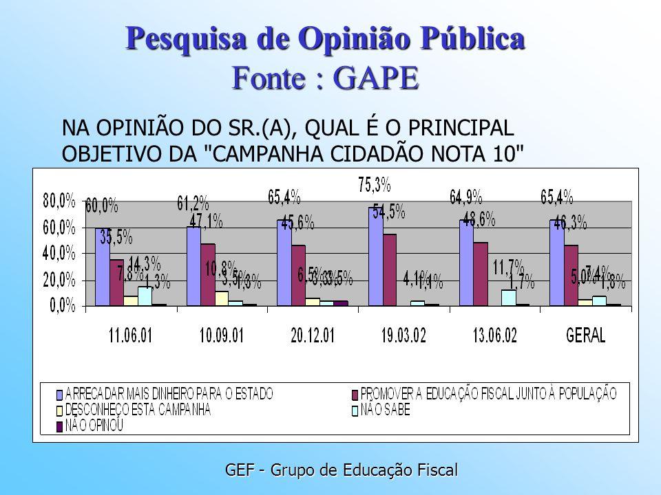 GEF - Grupo de Educação Fiscal NA OPINIÃO DO SR.(A), QUAL É O PRINCIPAL OBJETIVO DA