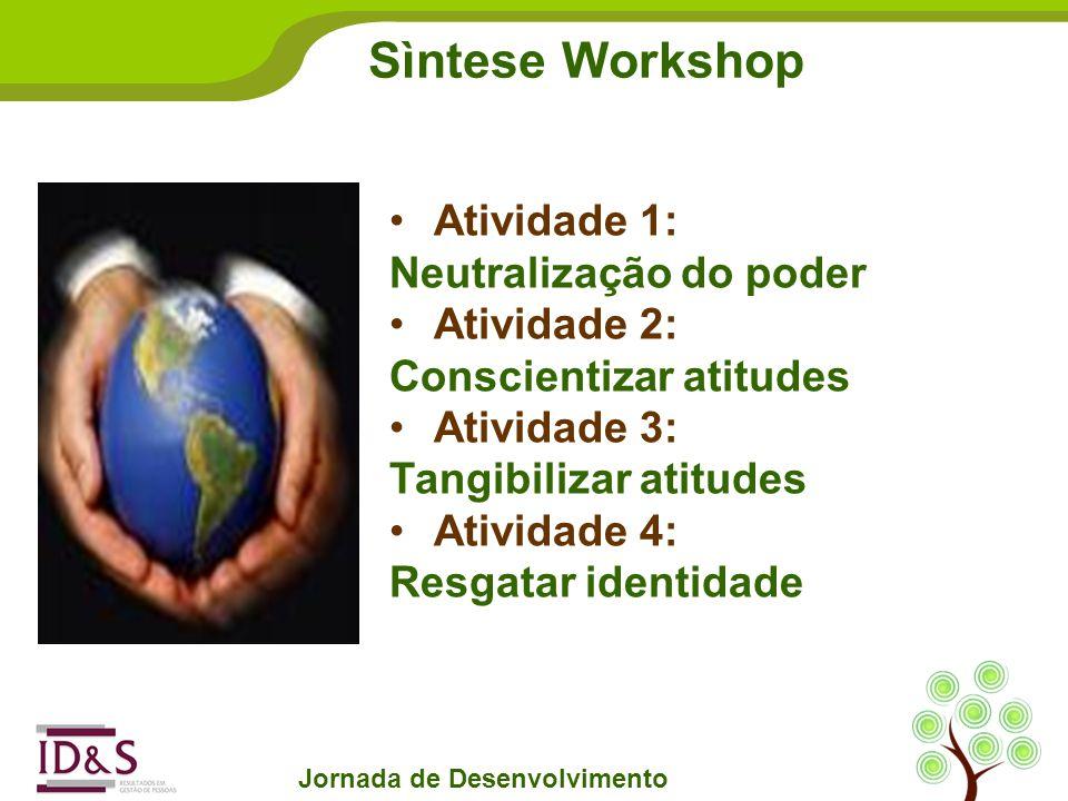 Sìntese Workshop Jornada de Desenvolvimento Atividade 1: Neutralização do poder Atividade 2: Conscientizar atitudes Atividade 3: Tangibilizar atitudes