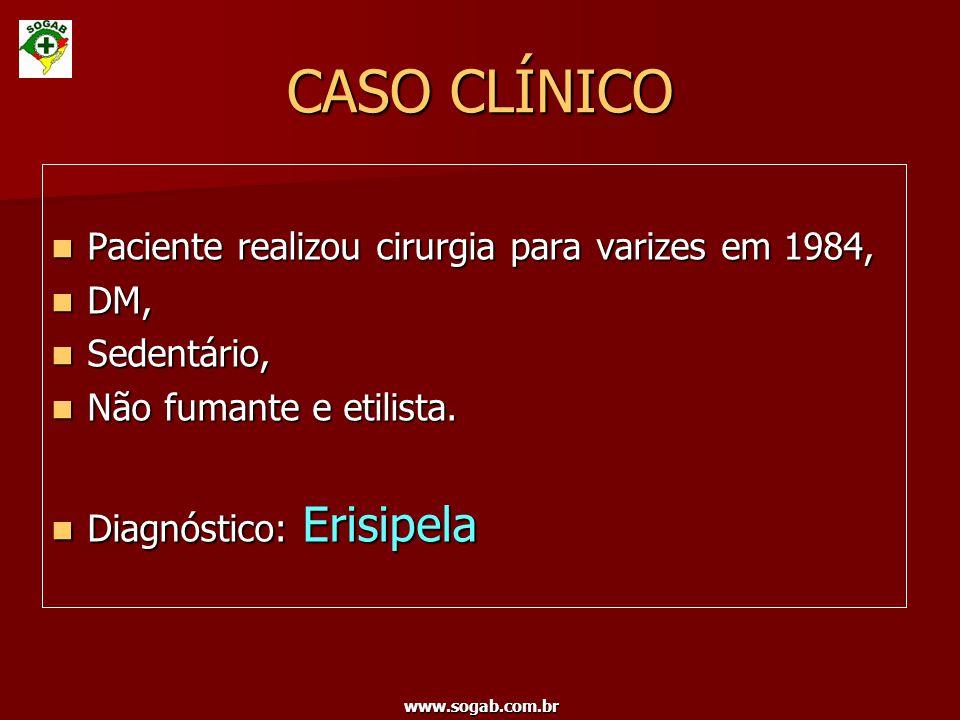 www.sogab.com.br Paciente realizou cirurgia para varizes em 1984, Paciente realizou cirurgia para varizes em 1984, DM, DM, Sedentário, Sedentário, Não