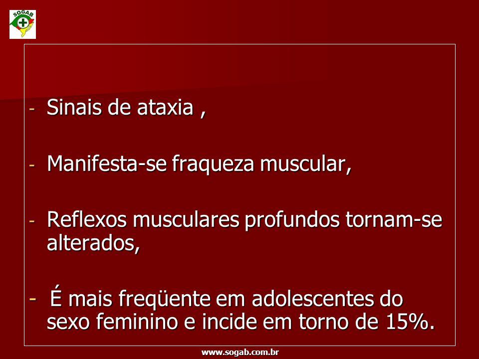 www.sogab.com.br - Sinais de ataxia, - Manifesta-se fraqueza muscular, - Reflexos musculares profundos tornam-se alterados, - É mais freqüente em adol