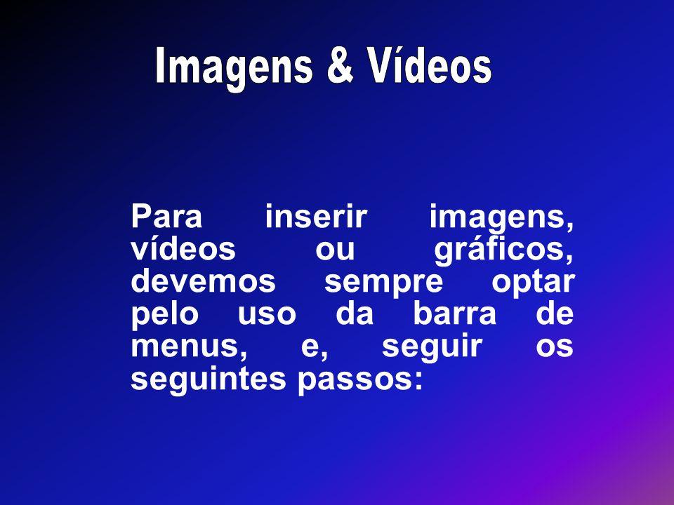 Para inserir imagens, vídeos ou gráficos, devemos sempre optar pelo uso da barra de menus, e, seguir os seguintes passos: