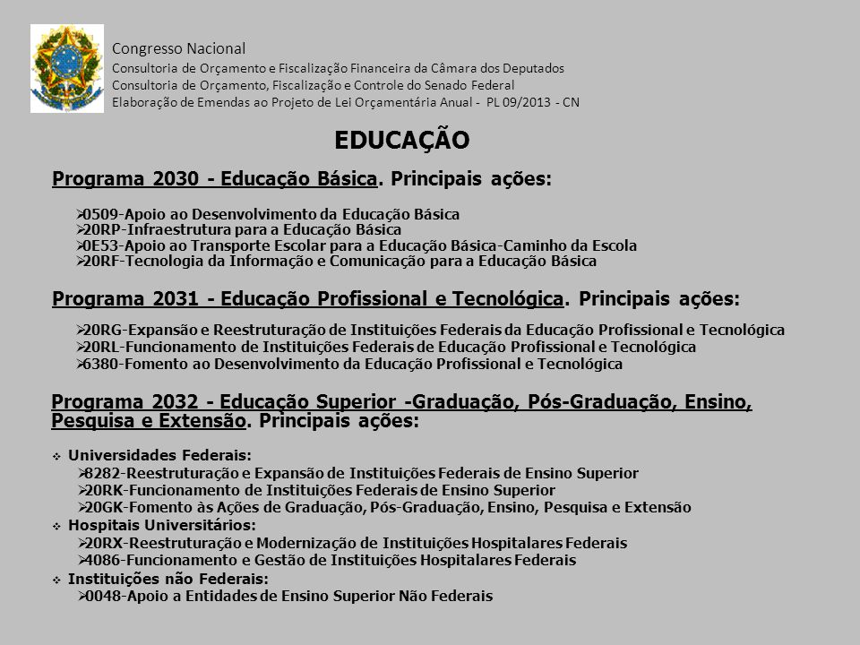 Programa 2030 - Educação Básica. Principais ações: Congresso Nacional 0509-Apoio ao Desenvolvimento da Educação Básica 20RP-Infraestrutura para a Educ