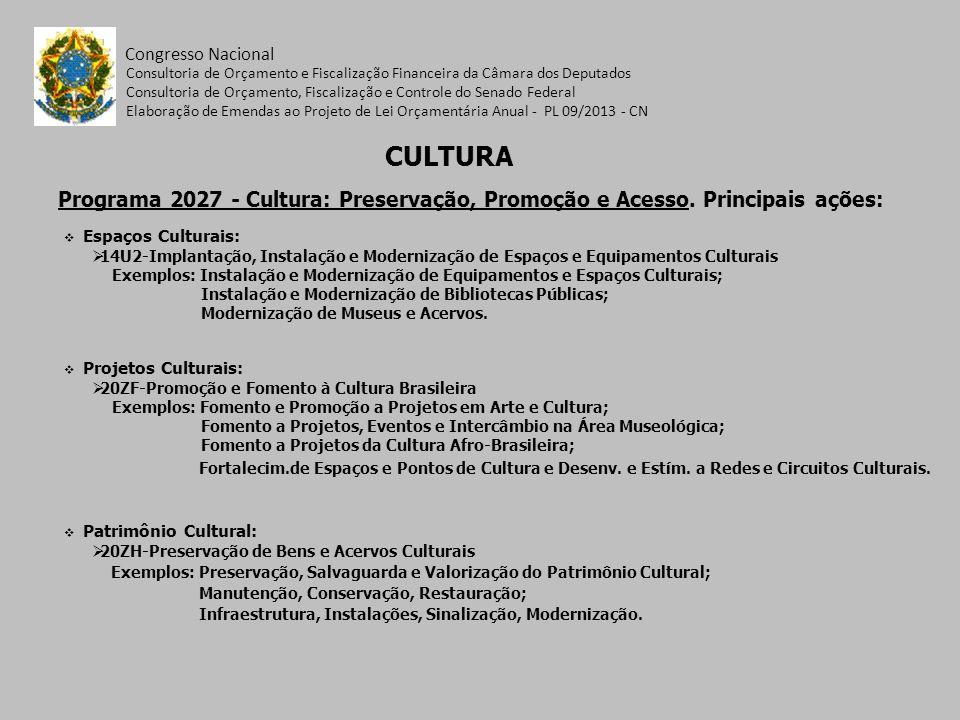 Programa 2027 - Cultura: Preservação, Promoção e Acesso. Principais ações: Congresso Nacional Espaços Culturais: 14U2-Implantação, Instalação e Modern
