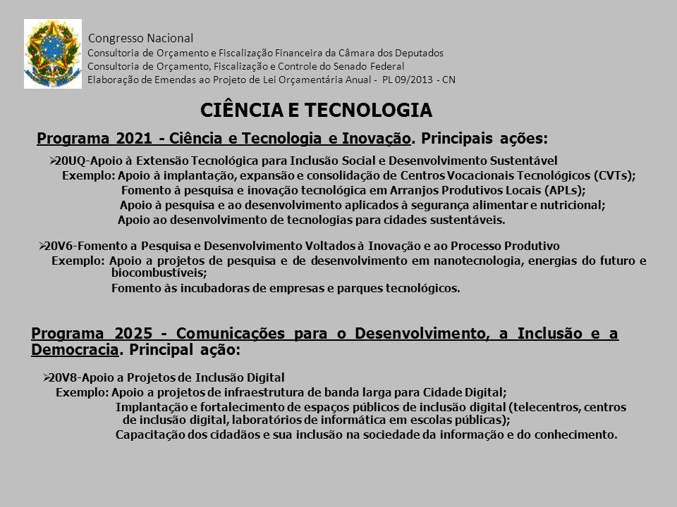 Programa 2021 - Ciência e Tecnologia e Inovação. Principais ações: Congresso Nacional 20UQ-Apoio à Extensão Tecnológica para Inclusão Social e Desenvo
