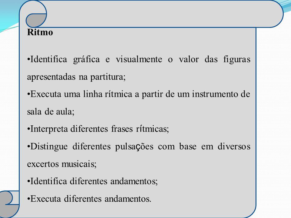 Altura Identifica gráfica, visual e auditivamente a altura dos sons; Assinala na partitura sons agudos, médios e graves; Distingue auditivamente sons agudos, médios e graves;