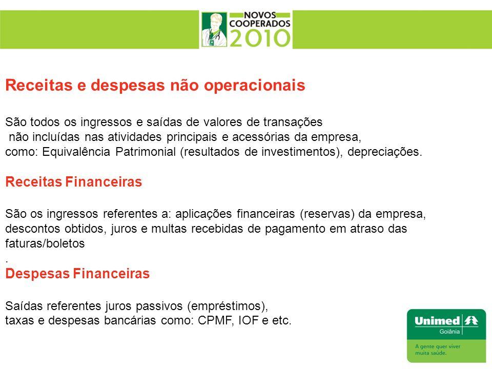 Receitas e despesas não operacionais São todos os ingressos e saídas de valores de transações não incluídas nas atividades principais e acessórias da