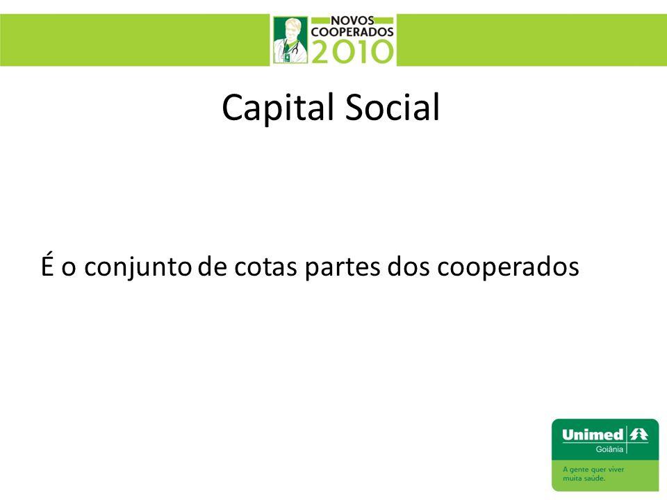 Capital Social É o conjunto de cotas partes dos cooperados