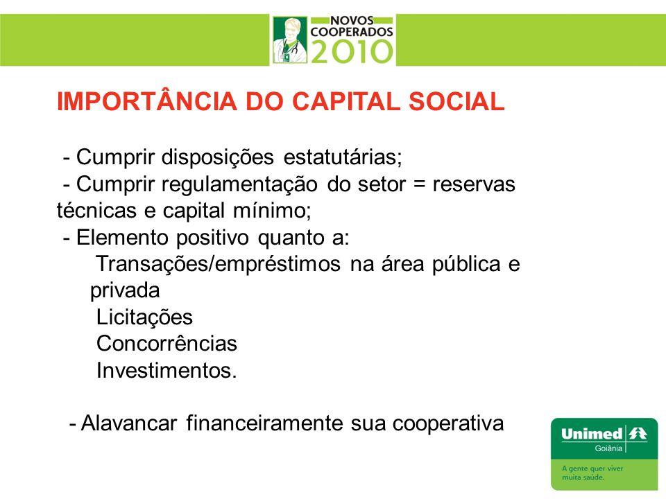 IMPORTÂNCIA DO CAPITAL SOCIAL - Cumprir disposições estatutárias; - Cumprir regulamentação do setor = reservas técnicas e capital mínimo; - Elemento p